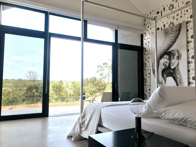 The Elephant room, with views into Kruger from your bed