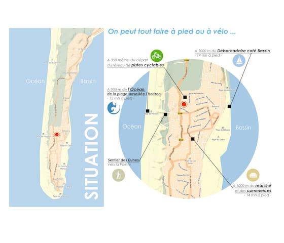 Plan de situation : on peut tout faire à pied ou à vélo !