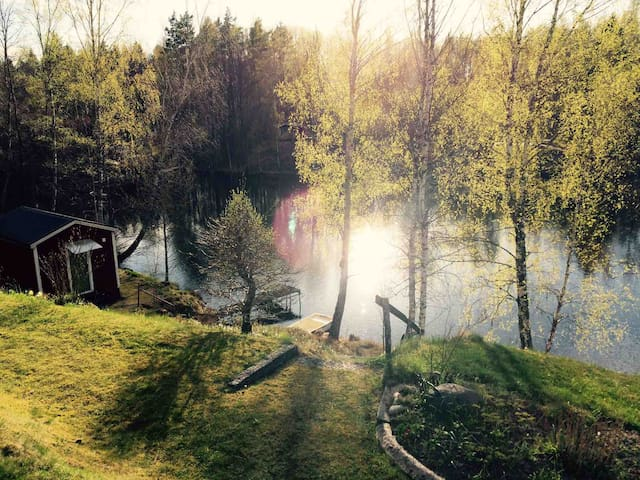 Secluded lakeside cabin w rowing boat