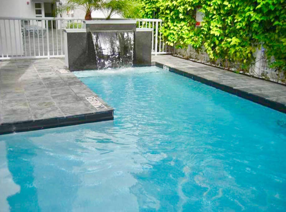Take a dip in the peaceful heated pool