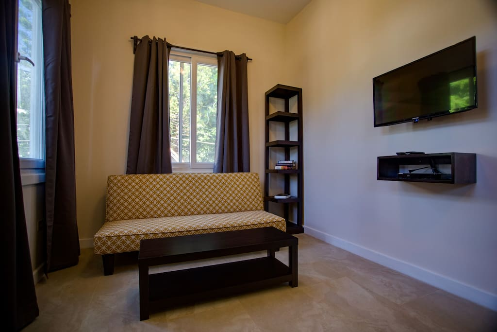 Living space with futon sleeper, flat screen tv with cable.