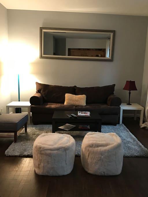 Bright and comfortable living area with sleeper sofa, flatscreen TV, Ipod docking station.