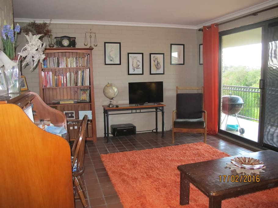 TV, desk and reading material in lounge room