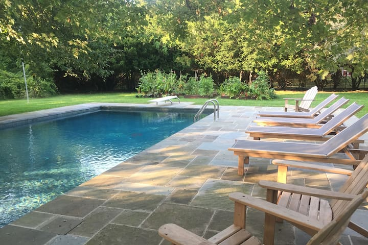 Large gunite pool with blue stone deck