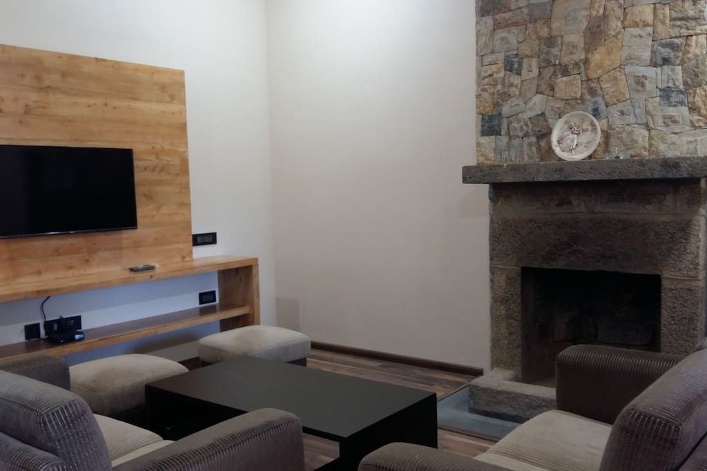 """Living Room with 40"""" TV and cable connection and a lovely fireplace"""