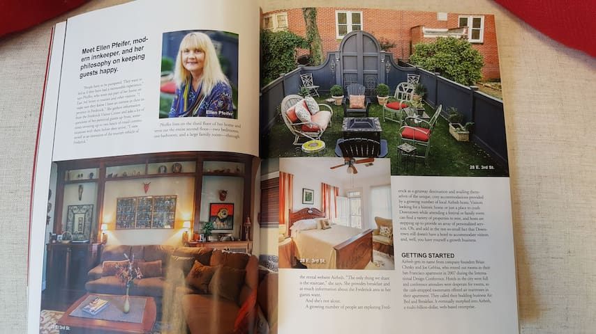 EarthBound feature story in December 2019 Frederick Magazine Article on downtown B&B properties
