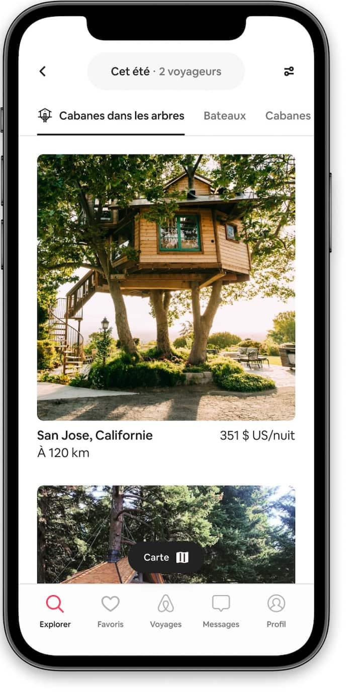 Parcourez des annonces de cabanes dans les arbres dans l'application Airbnb.