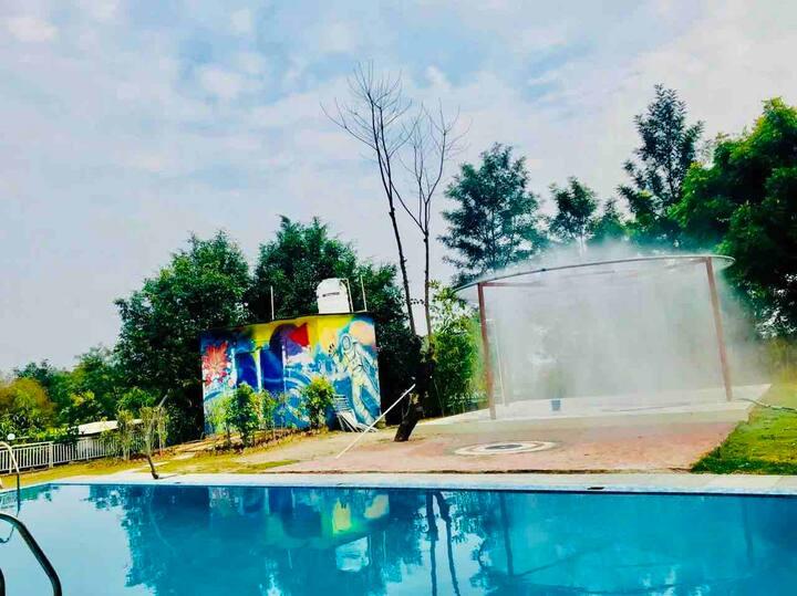 Luxury Farmhouse at Aravali with Pool & Rain dance