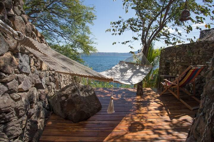 La Camita private deck with view to the Laguna