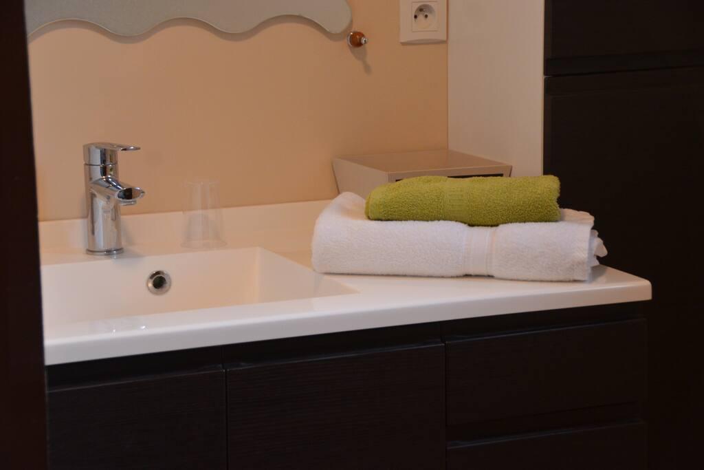 draps et serviette de bain fourni.