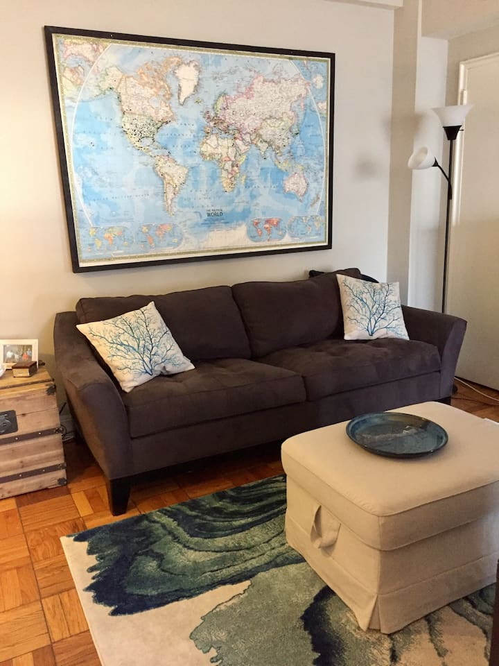Living space with comfortable couch and television (not pictured).