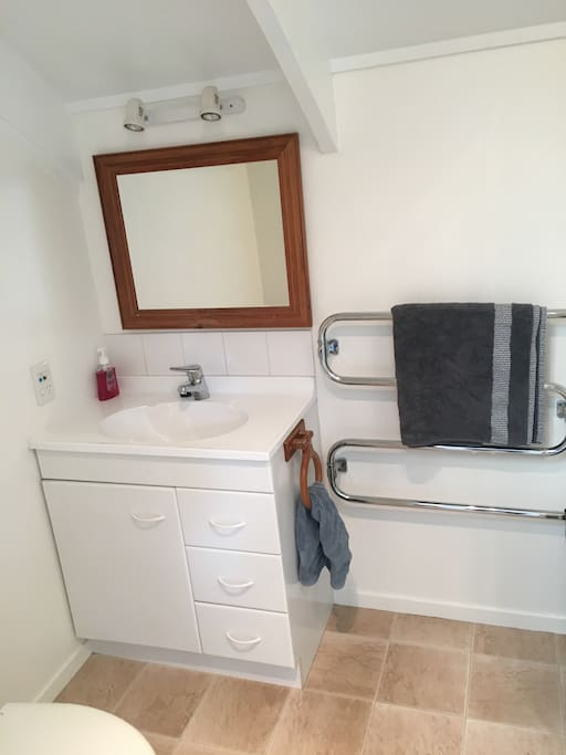 Bathroom area - also includes toilet, washing machine and shower