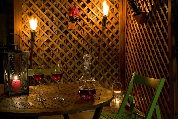 Enjoy a glass of wine at the terrace... or two...