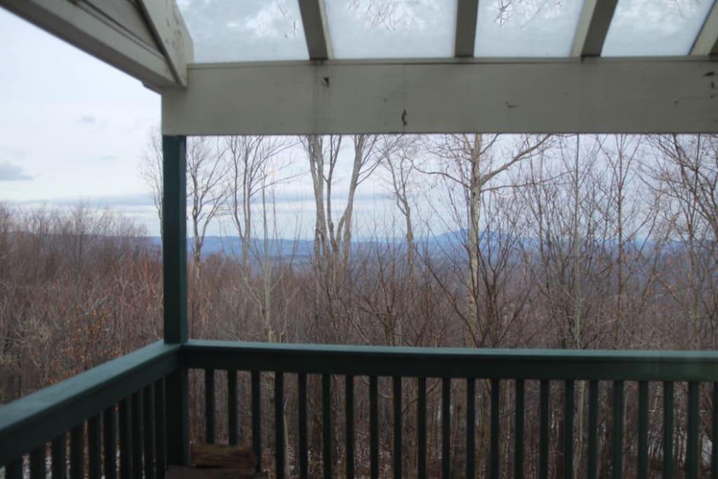 Deck overlooking mountain views