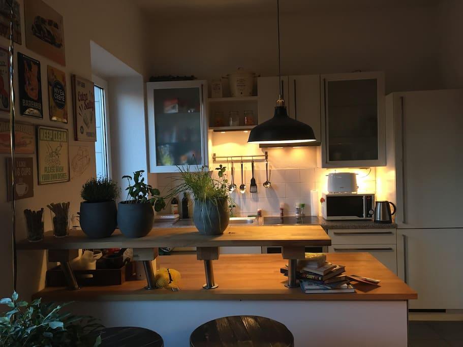 Das Herz der Wohnung - eine voll ausgestattete Küche mit Wohnraum