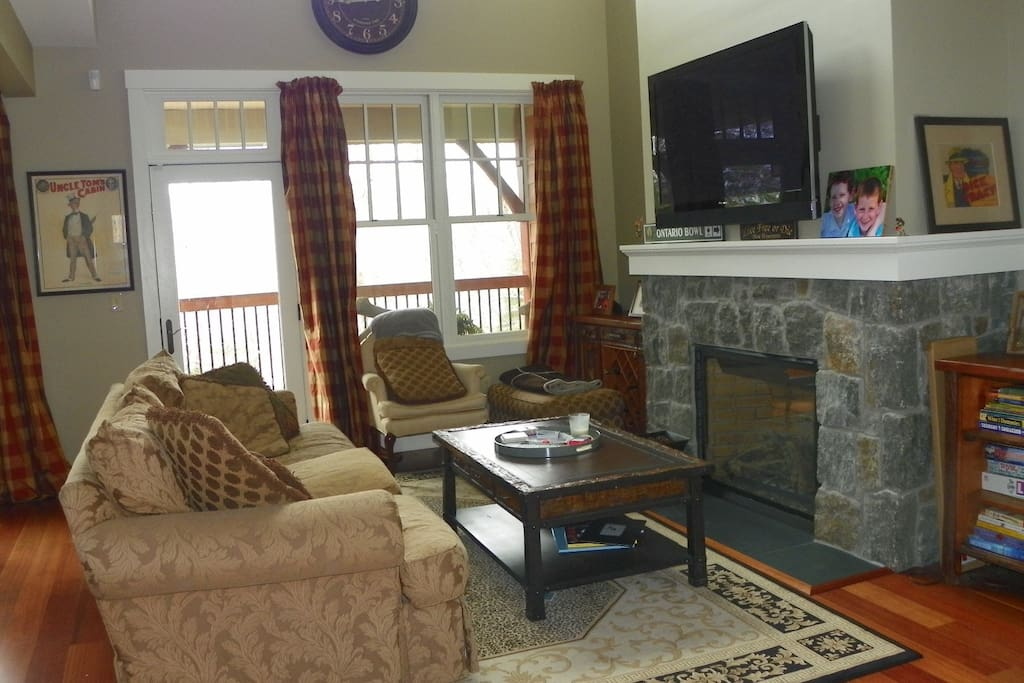 Stone Fireplace and Family Board Games in NH Vacation Condo