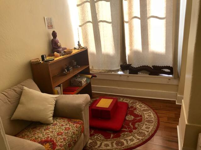 Meditation room to the rear, off the back of the bedroom. Outside door leads to private yard.