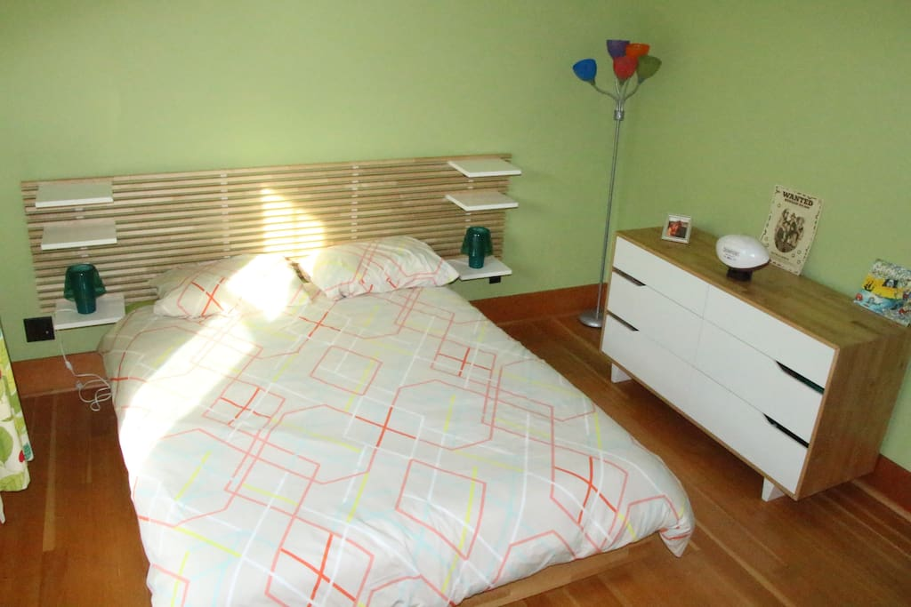 Bright room with a queen bed and a walking closet