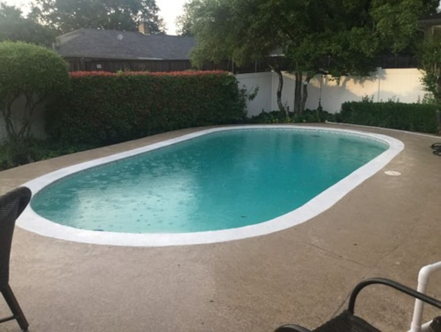 You're welcome to use our pool. It's not heated, sorry.