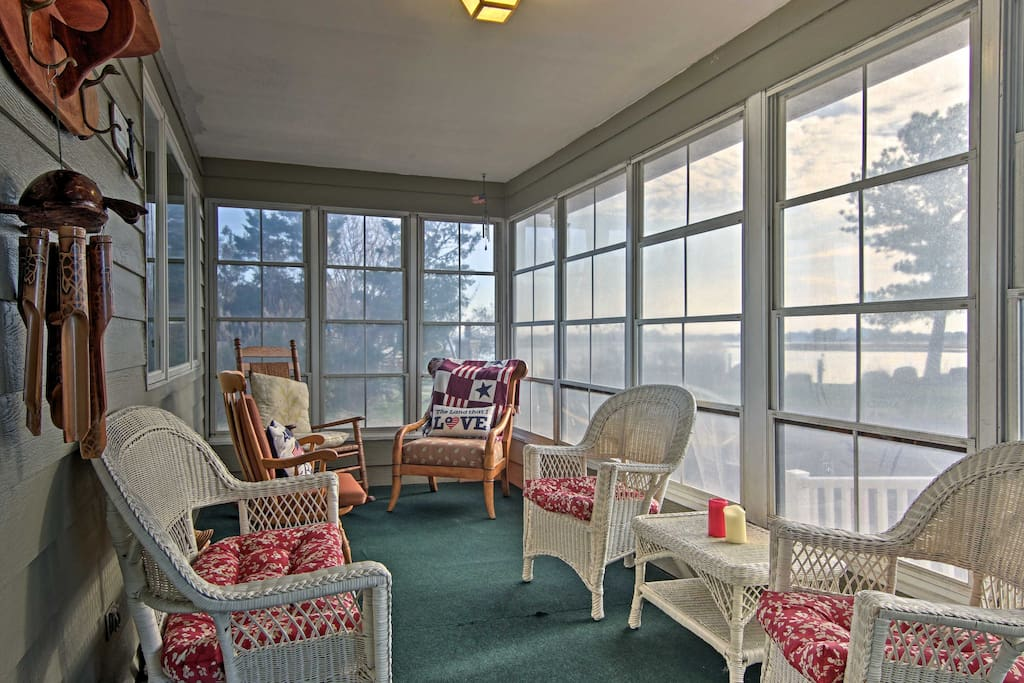 Enjoy afternoons in the sunroom with inspiring views of the bay.