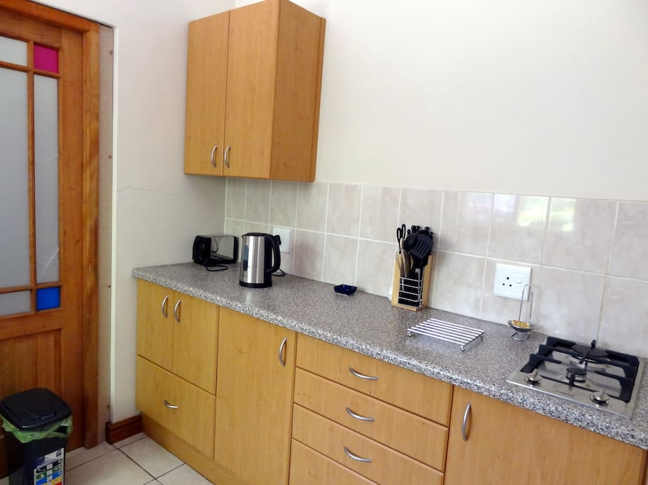 Self Catering kitchen includes gas hob, tea and coffee making facility.