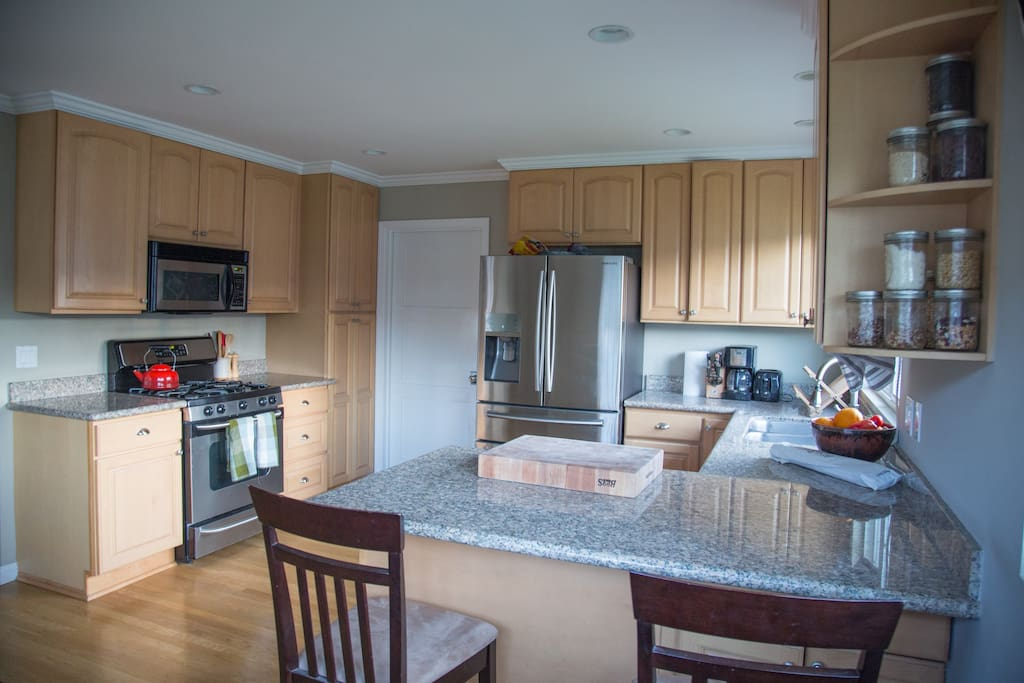 Kitchen with gas stove, microwave, dishwasher