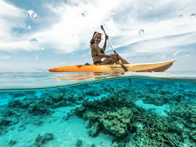 Kayaking at house reef