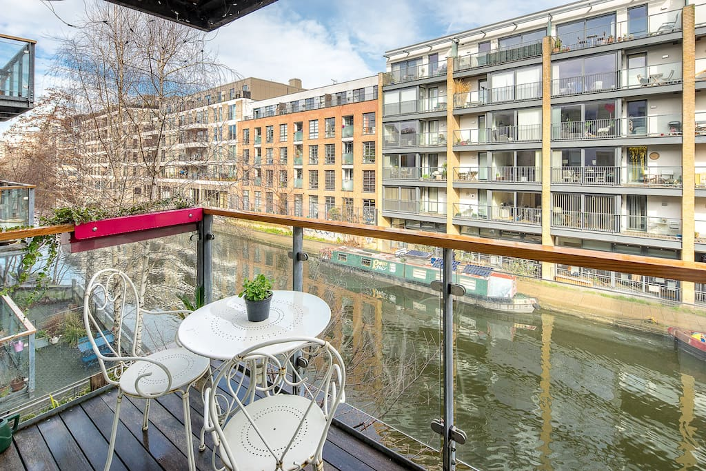 Enjoy sitting out with your morning coffee and views of the canal