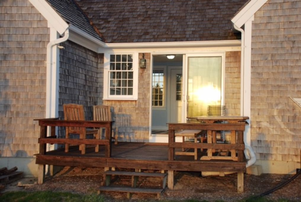 Back Deck has view of marsh with grill and outdoor shower.