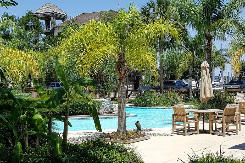 One of two tropical resort style pools