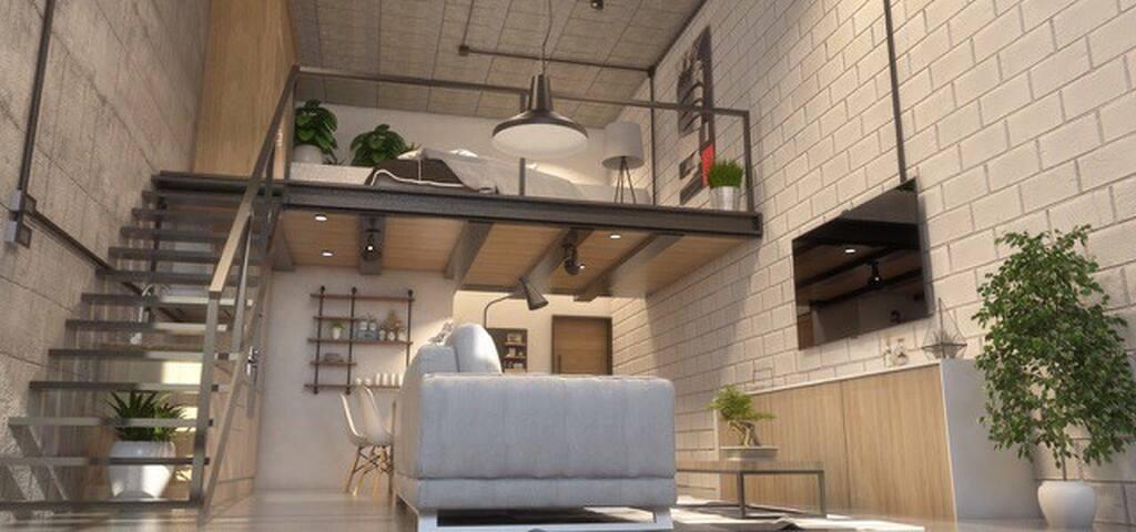 Loft estilo industrial  Apartamento exclusivo