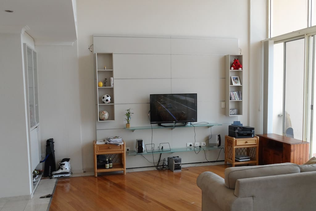 Spacious living room with TV and sofa