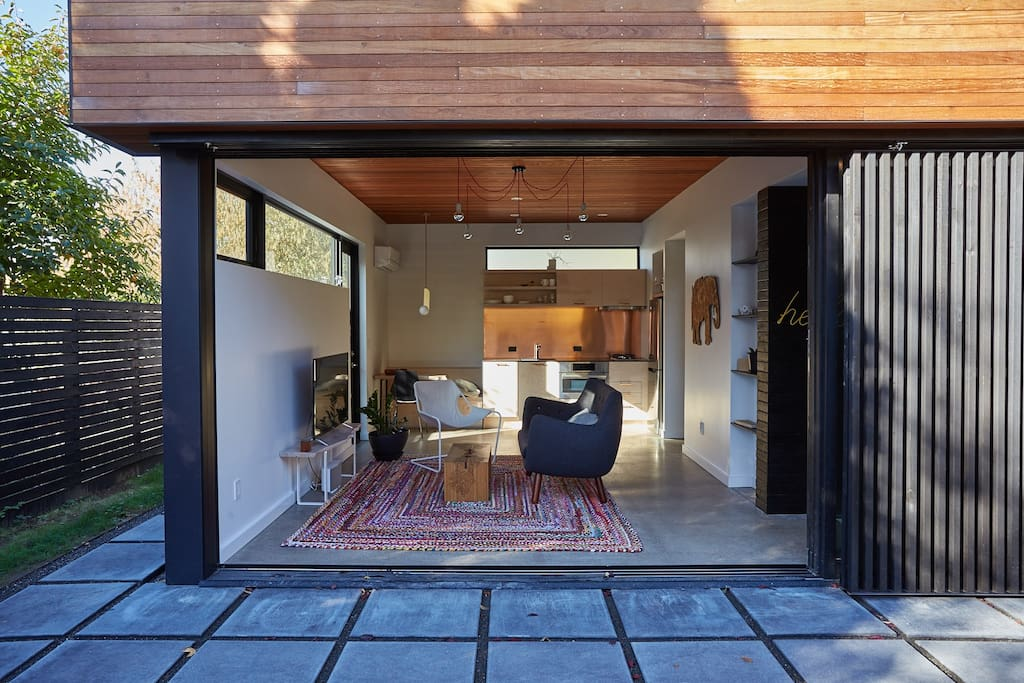 Having the inside open to a patio makes it feel much larger