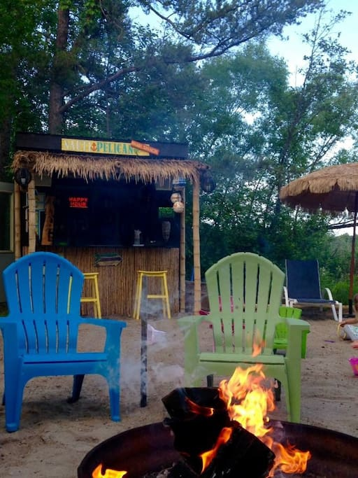 Tiki Bar and Fire Pit on the Beach