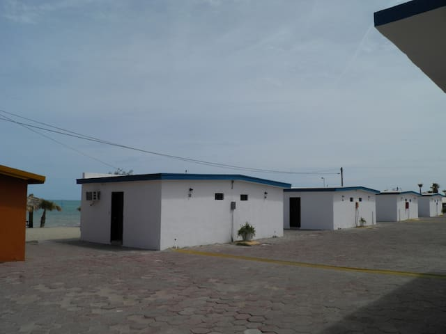 San Felipe Baja California Mar de Cortez Seaside Hotel beach front Bungalows #33 to #40 . bungalows on the back #49 to Suite #55