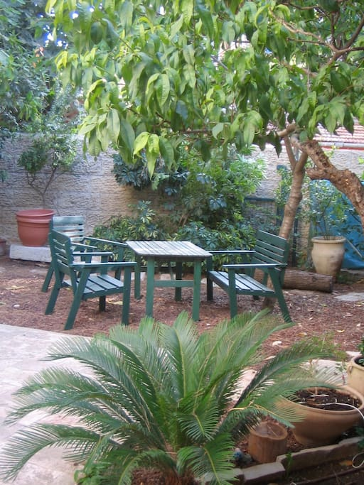 small table and chairs in the garden