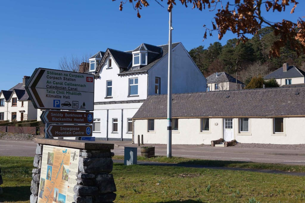 As per the road sign, we are less than 100M from Corpach train station, Caledonian Canal & Great Glen Way