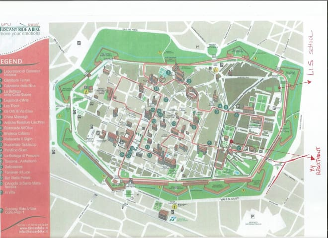 cartina di Lucca con indicato dove si trova l'appartamento
