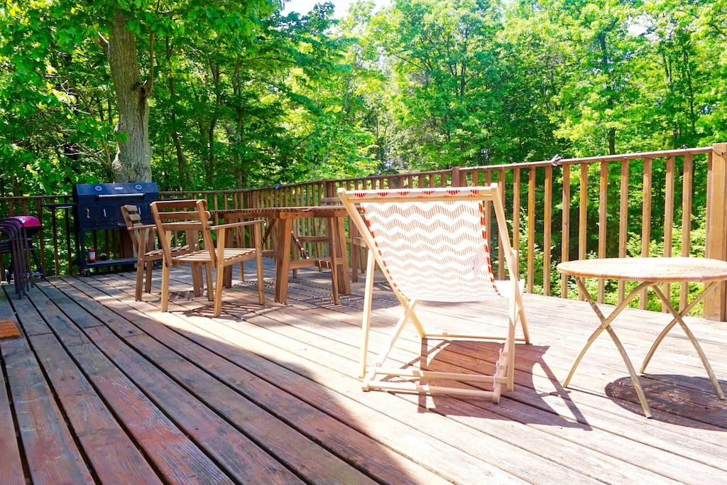 Our Deck, we are surrounded by trees -great privacy!
