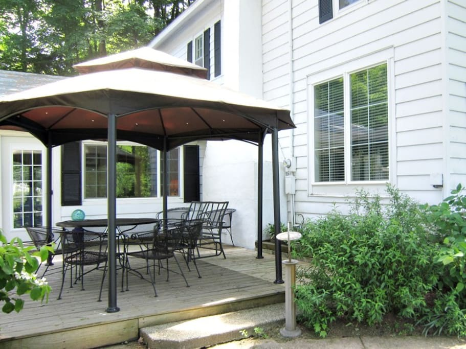 Patio with gazebo and outdoor furniture for relaxing