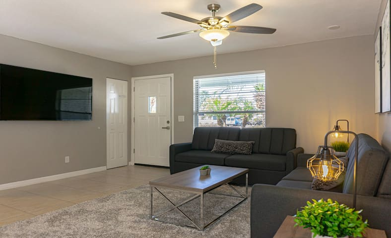 Large Living room #1 (of 2) offers 2 Queen size sofa/beds, & large 65-inch flatscreen-TV! Wi-Fi included!