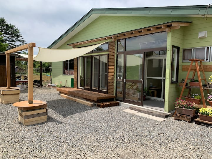 一軒家貸切・北海道の田舎暮らし生活を満喫!庭でBBQ可能【ペット可】