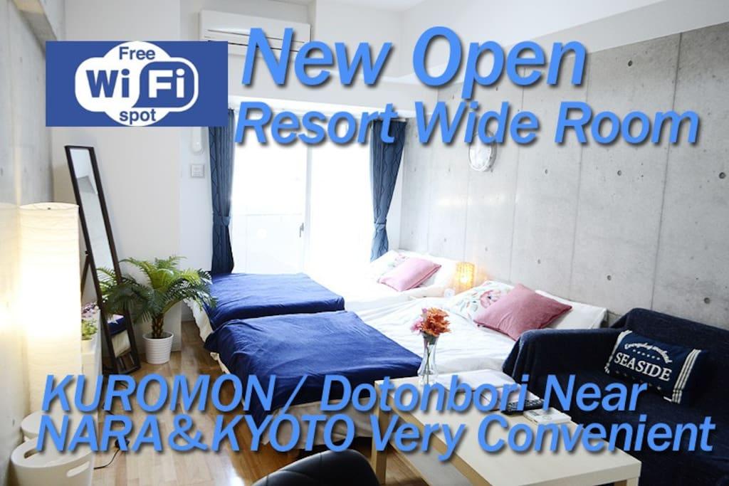 KUROMON Market walk to 3Minute/ Namba/Dotonbori/Nipponbashi/NEAR Resort Wide Room