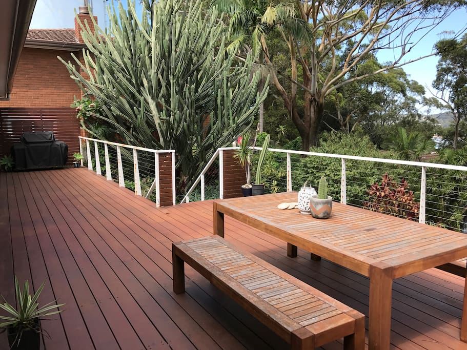 Large, sunny deck (uncovered) and BBQ