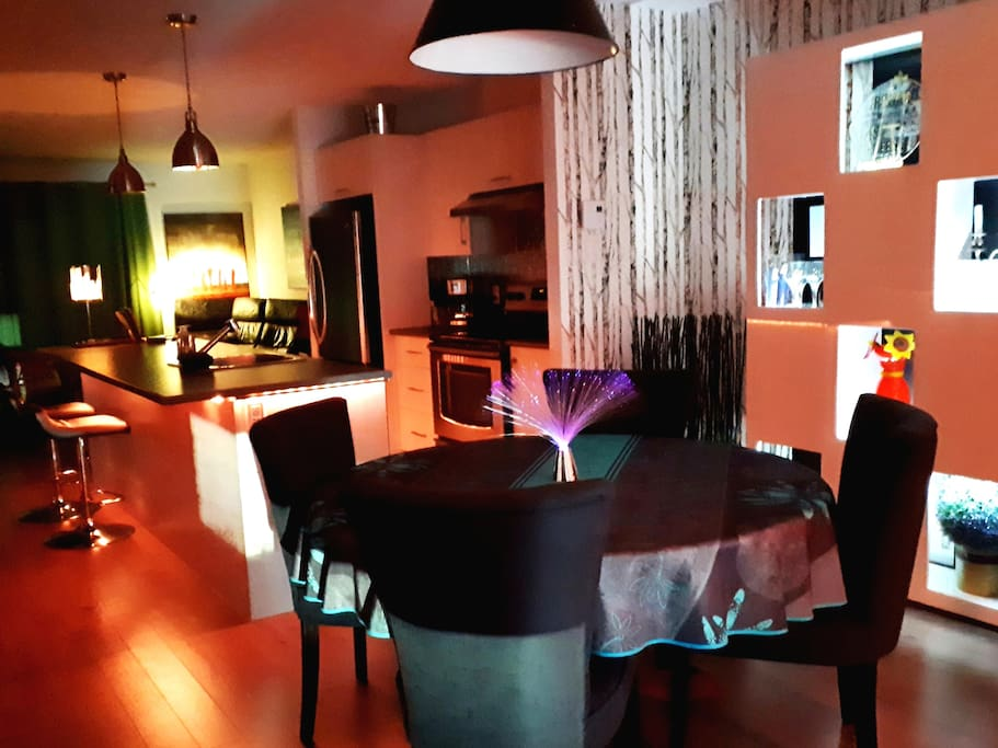 MULTICOLOR LED LIGHTS YOU CAN SET TO DESIRED MOOD, WALL MOUNTED FIREPLACE, BLUETOOTH SPEAKERS, POKER CASE,  GOURMET KITCHEN, ACCESS TO INDOOR POOL ($), COMPUTOR, FLAT TV SCREEN , CABLE, FREE PARKING IN FRONT OF DOOR.....THIS PLACE IS AWSOME !