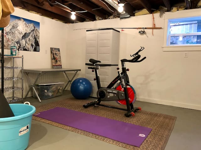 Is it raining outside? No problem! Work up a sweat indoors. Or use this space to prep for your next outdoor adventure.