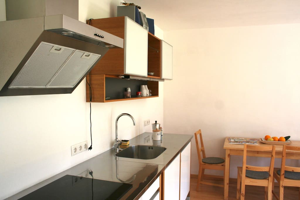 Modernes Elektro-Kochfeld, Backofen und alles, was man in einer Küche braucht.