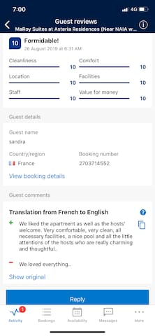"""A """"FORMIDABLE"""" guest review from one of Holiday Maker website BDC.  Thanks Ms. Sandra Menant of France for Staying in our Home."""