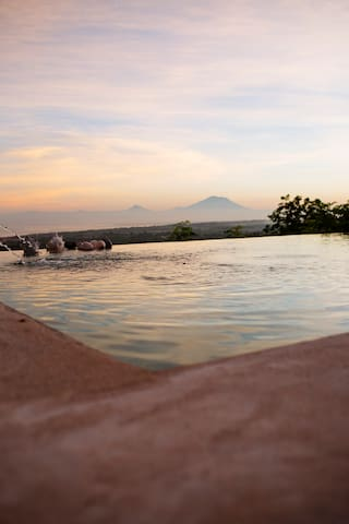 Bali volcanoes views from swimming pool area