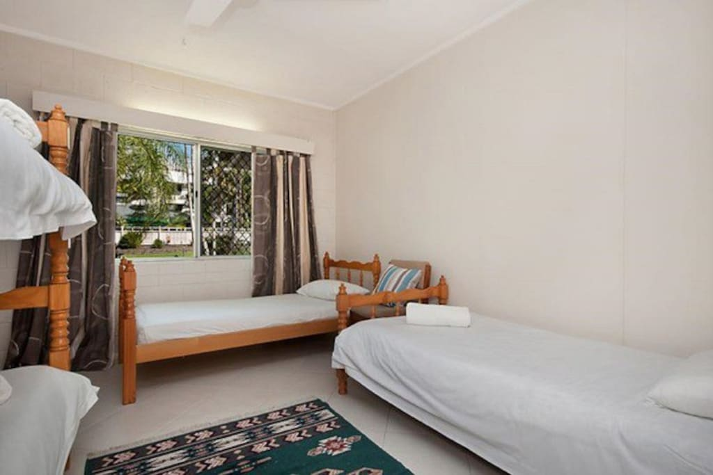2nd bedroom, 4 single beds
